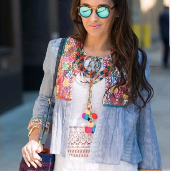 Zara Jackets Coats Nwt Embroidered Pom Pom Jacket Size Medium